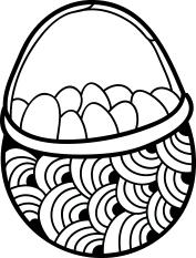 1611 - Gummistämpel  Mini korg med ägg