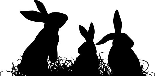 1616 - Gummistämpel  Silhouette kaninfest