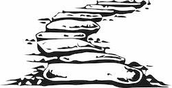 1424 -  Gummistämpel Stenbelagd gång