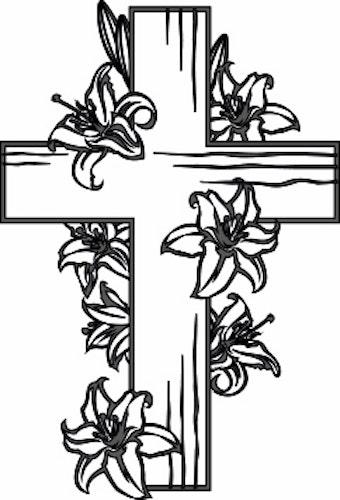 615 - Gummistämpel konfirmation Kors med Blommor