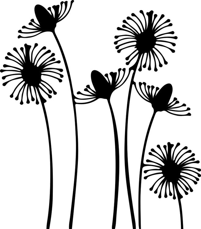 1466-Gummistämpel Höga växter 6 blommor