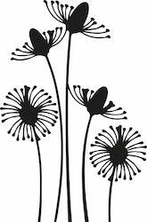 1562 - Gummistämpel  Minis växter 5 blommor