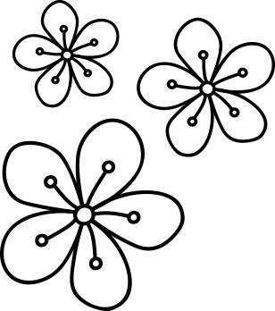 1556-Gummistämpel Minis Set Ytterlinje Blommor