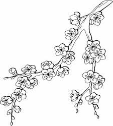 1469-Gummistämpel Blommande körsbärsgren