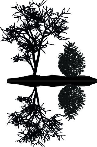 14138-Gummistämpel Träd spegling