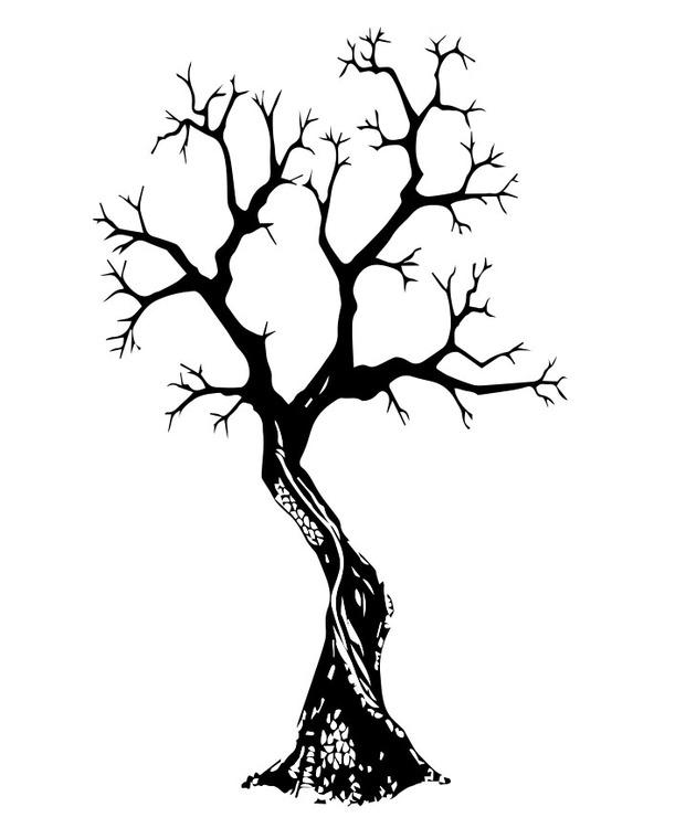 502- Gummistämpel Naket träd