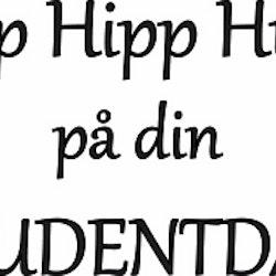 624-Gummistämpel Hipp Hipp Hurra på din studentdag liten