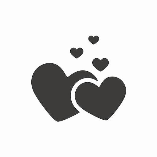 246-Gummistämpel Hjärtan