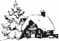 1263 - Gummistämplar Snöigt Vinterhus m gran