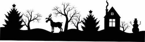1259 - Gummistämplar silhouette  vintermotiv