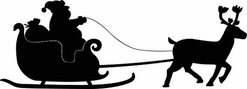 1257 - Gummistämplar silhouette  Tomte med en ren