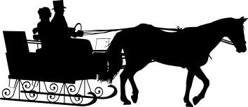1258 - Gummistämplar silhouette  Par med släde o häst