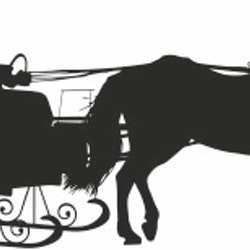 1258-Gummistämplar silhouette  Par med släde o häst