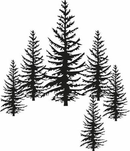 1253 - Gummistämplar silhouette  klunga med granar