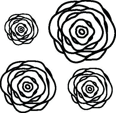 1101-Gummistämpel Svirliga blommor 4 storlekar