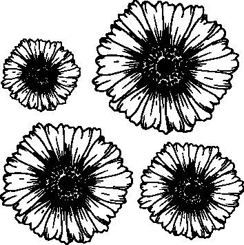 1102-Gummistämpel Svirliga blommor 4 storlekar