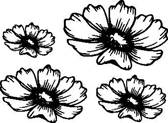 1103-Gummistämpel Svirliga blommor 4 storlekar