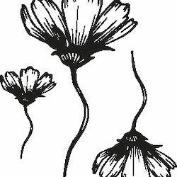 1105-Gummistämpel Halvutslagen blomma