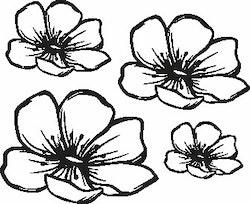 1104-Gummistämpel Svirliga blommor 4 storlekar