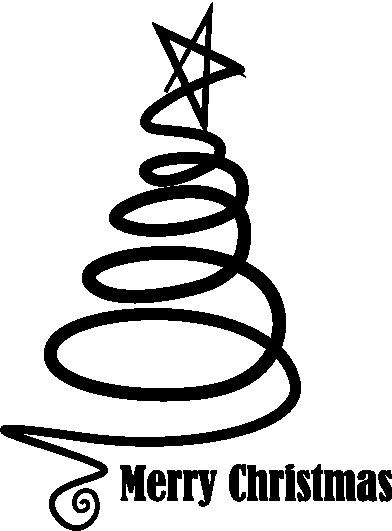 2003 - Gummistämpel Merry christmas svirlig gran