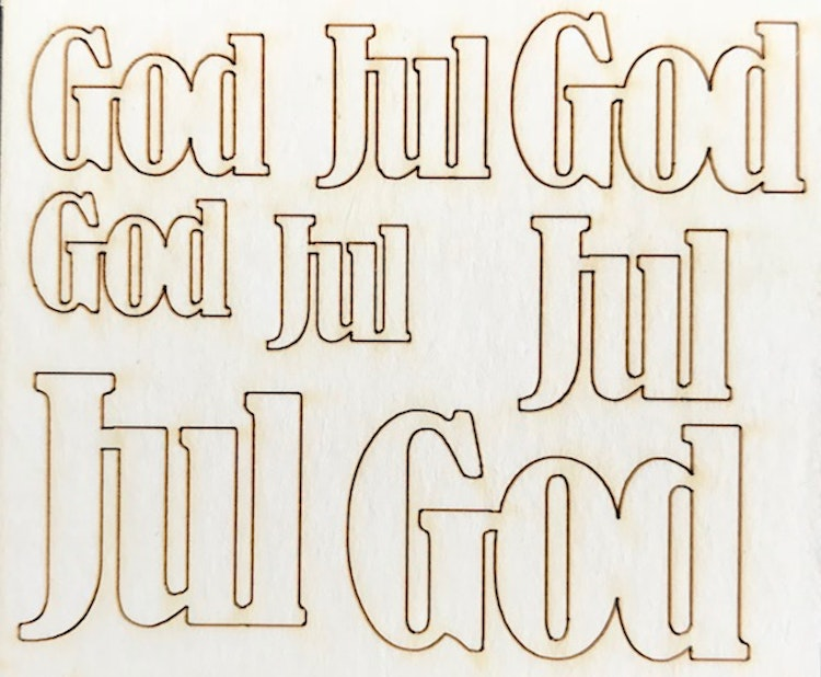 4502 Chipboard God Jul set med 4 st God Jul