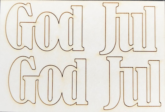 4503 Chipboard God Jul set med 2 st God Jul