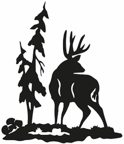 1350 - Gummistämpel Kronhjort i skogen