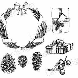 1901 - Gummistämpel set 7 olika julmotiv