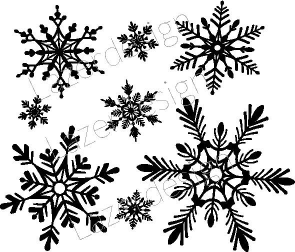 1245 - Gummistämpel Set Snöstjärnor
