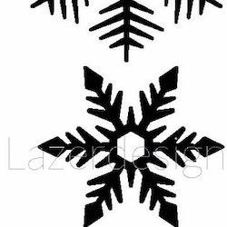 1256 - Gummistämpel  3 Snöstjärnor