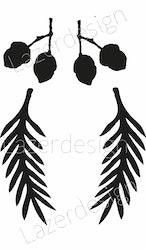 1279-Stämpel set grankvist och ekollon