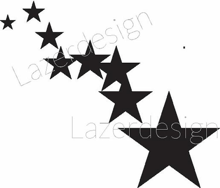 1265-Stämpel  Stjärnor på rad