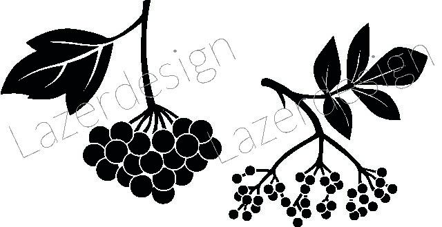 1166-Stämpel  Rönnbär 2 olika