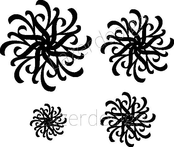 1148-Stämpel  Swirlar snöflingor mm