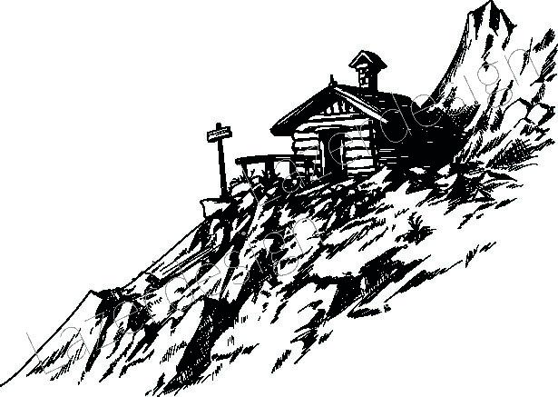 14155-Stämpel  Hus i bergen