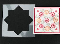 3268-Stencil Kransmall 8 uddar ca  8,2 x 8,2 cm