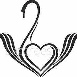 214 stämpel Hjärta i svan