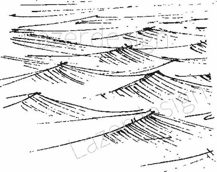 14157 stämpel  Vågor liten