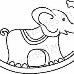 201 Stämpel Gunghäst elefant