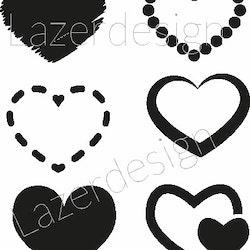 209 stämpel 6 st olika Hjärtan