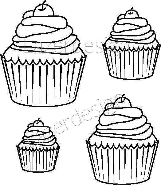 1173 stämpel Cupcake 4 st