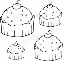 1174 stämpel Cupcake 4 st