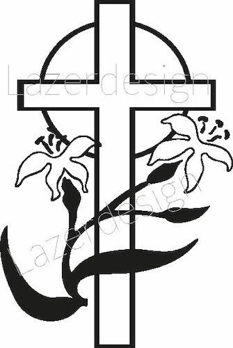652 Stämpel Kors m blomma