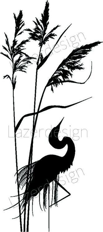 221-Stämpel Fågel i högt gräs