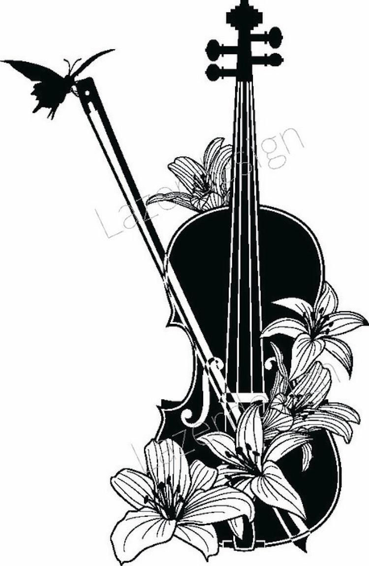 222-Stämpel Violin m blommor