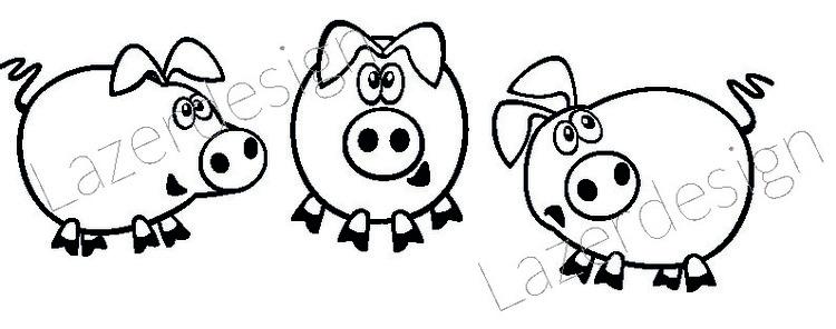 225-Stämpel 3 små grisar