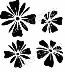 1161-Stämpel  4 blommor till kransstencil