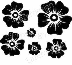 1162-Stämpel  6 blommor till kransstencil