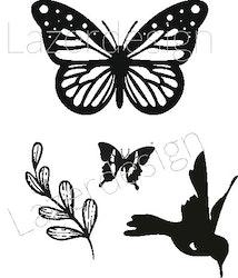 2611-Stämpel  set Fjäril, fågel, gren 4 del
