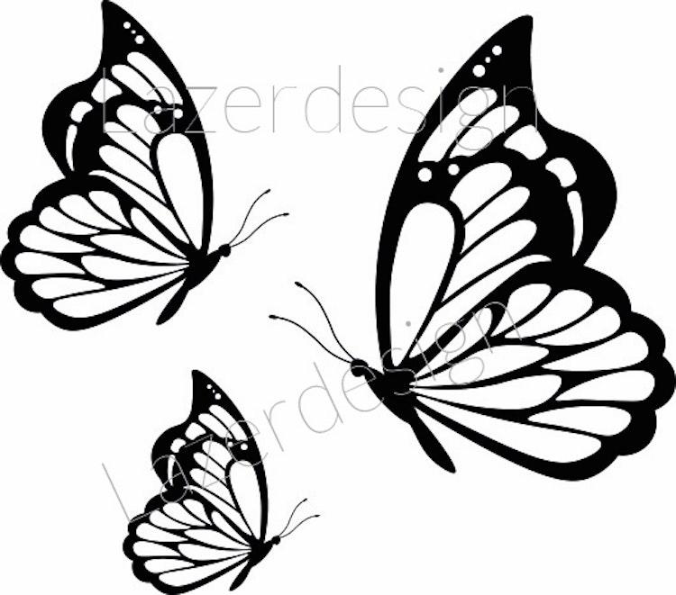 2651-stämpel 3 Fjärilar olika st